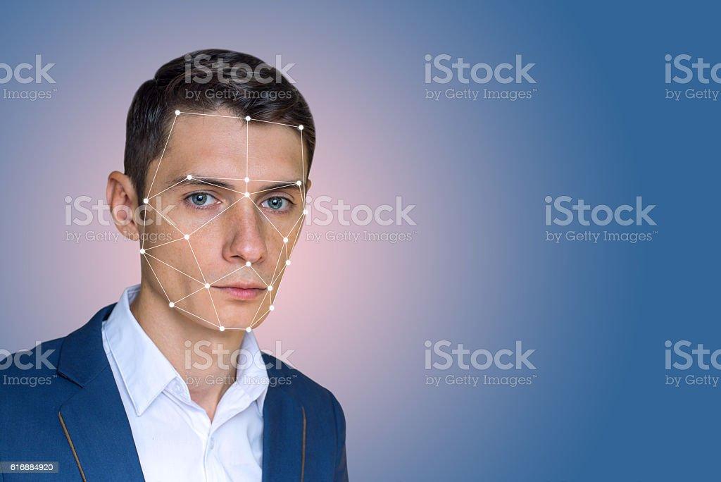 Biometric verification man face recognition stock photo