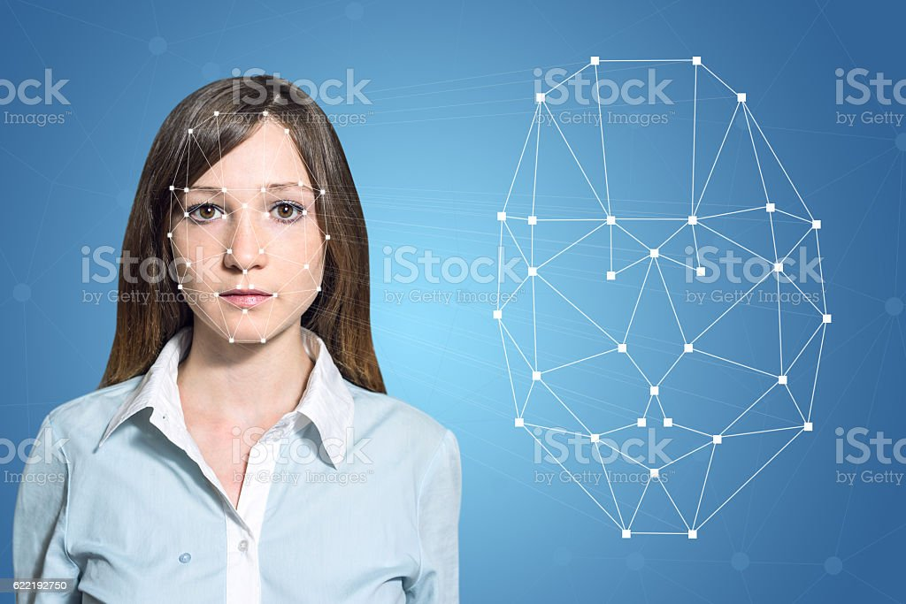 Biometric verification woman face detection, high technology - foto de acervo