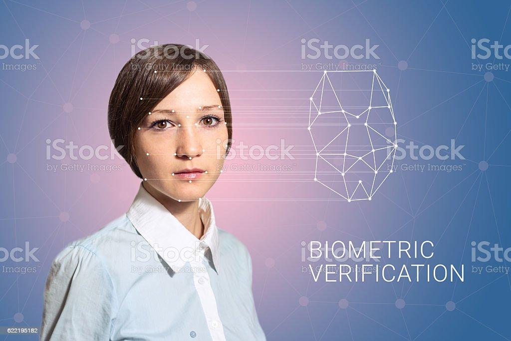 Biometric verification woman face detection, high technology stock photo