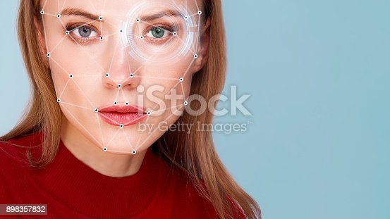 istock Biometric verification woman face detection 898357832