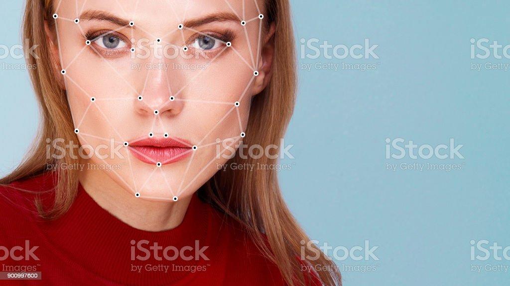 Détection de visage de femme vérification biométrique - Photo