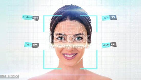 istock Biometrics concept. Facial Recognition System. Iris recognition. 1139494420