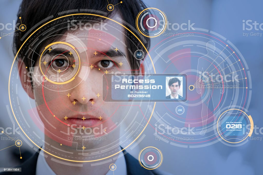 Biometrics concept. Facial Recognition System. Iris recognition. foto stock royalty-free