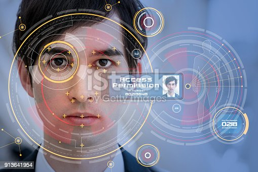 istock Biometrics concept. Facial Recognition System. Iris recognition. 913641954