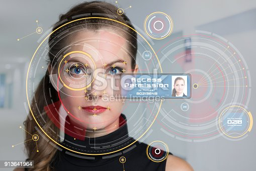 858527030istockphoto Biometrics concept. Facial Recognition System. Iris recognition. 913641964