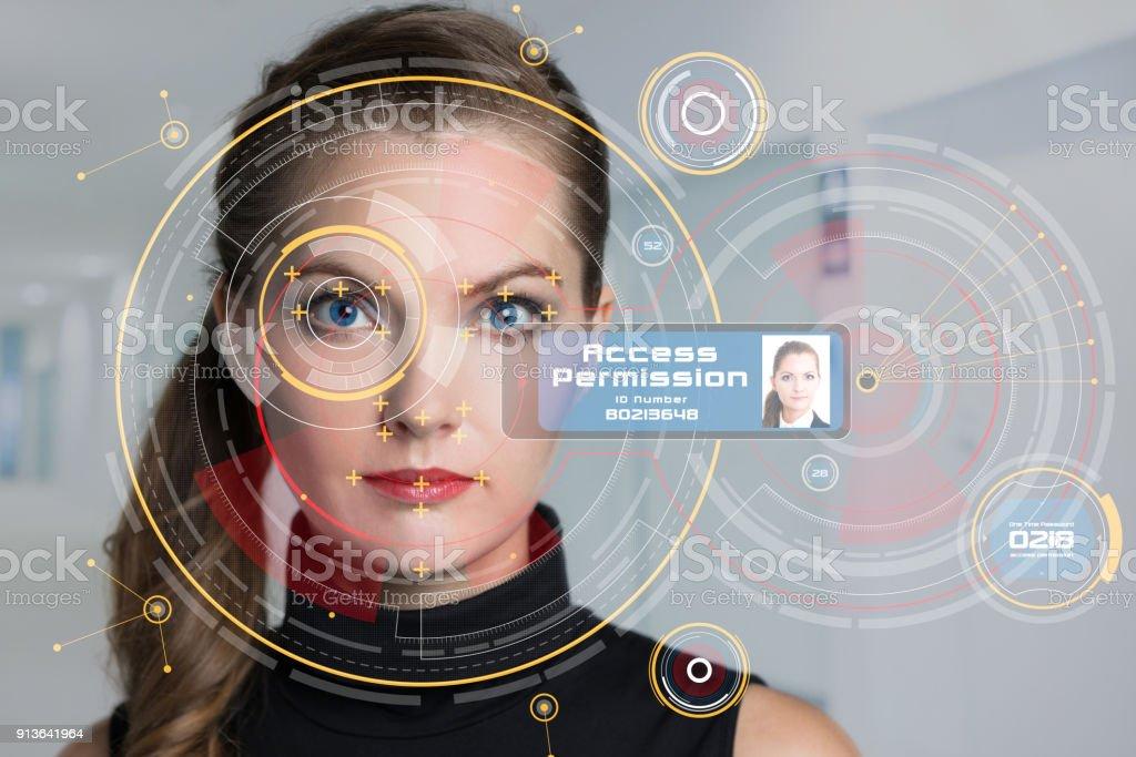Biometrics concept. Facial Recognition System. Iris recognition. stock photo