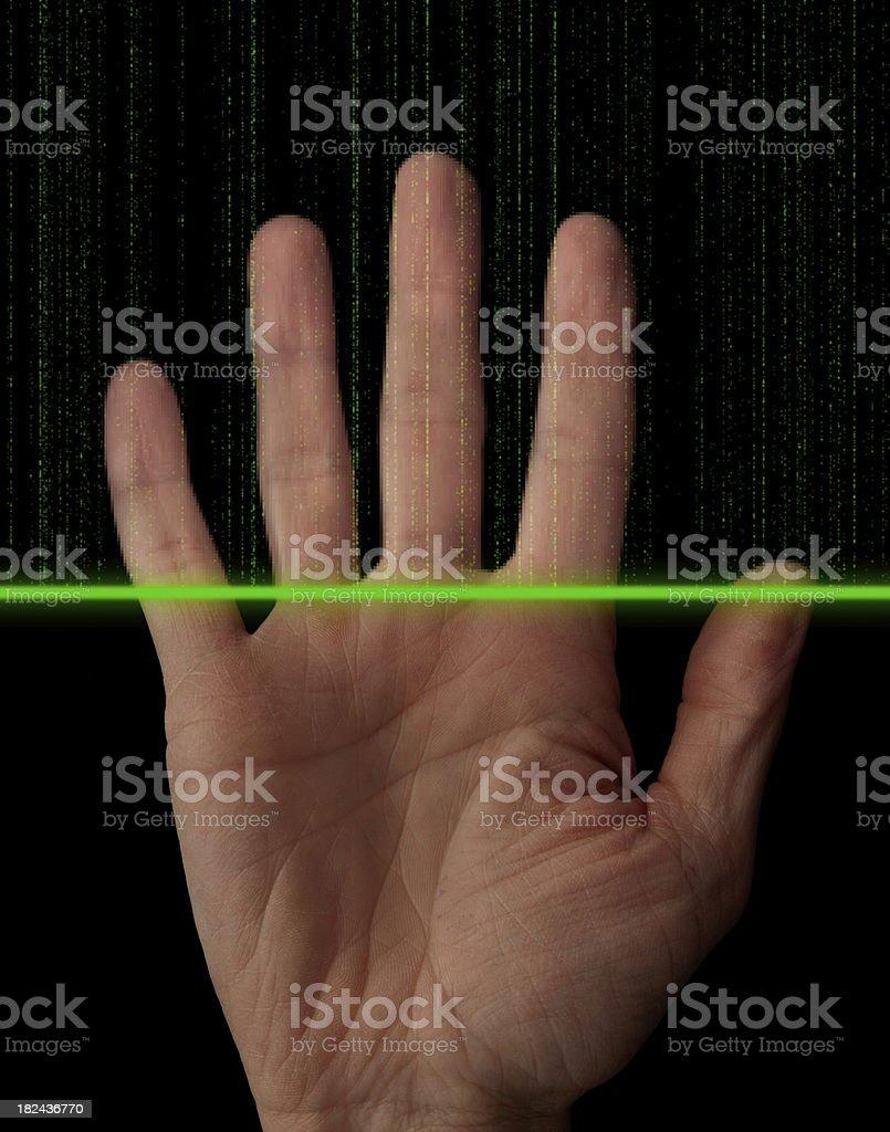 Biometrics hand scanner royalty-free stock photo