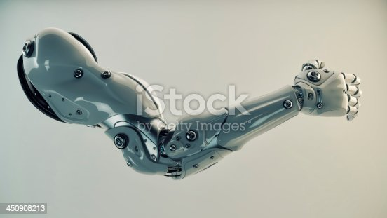 istock Bionic arm of a robot under production  450908213