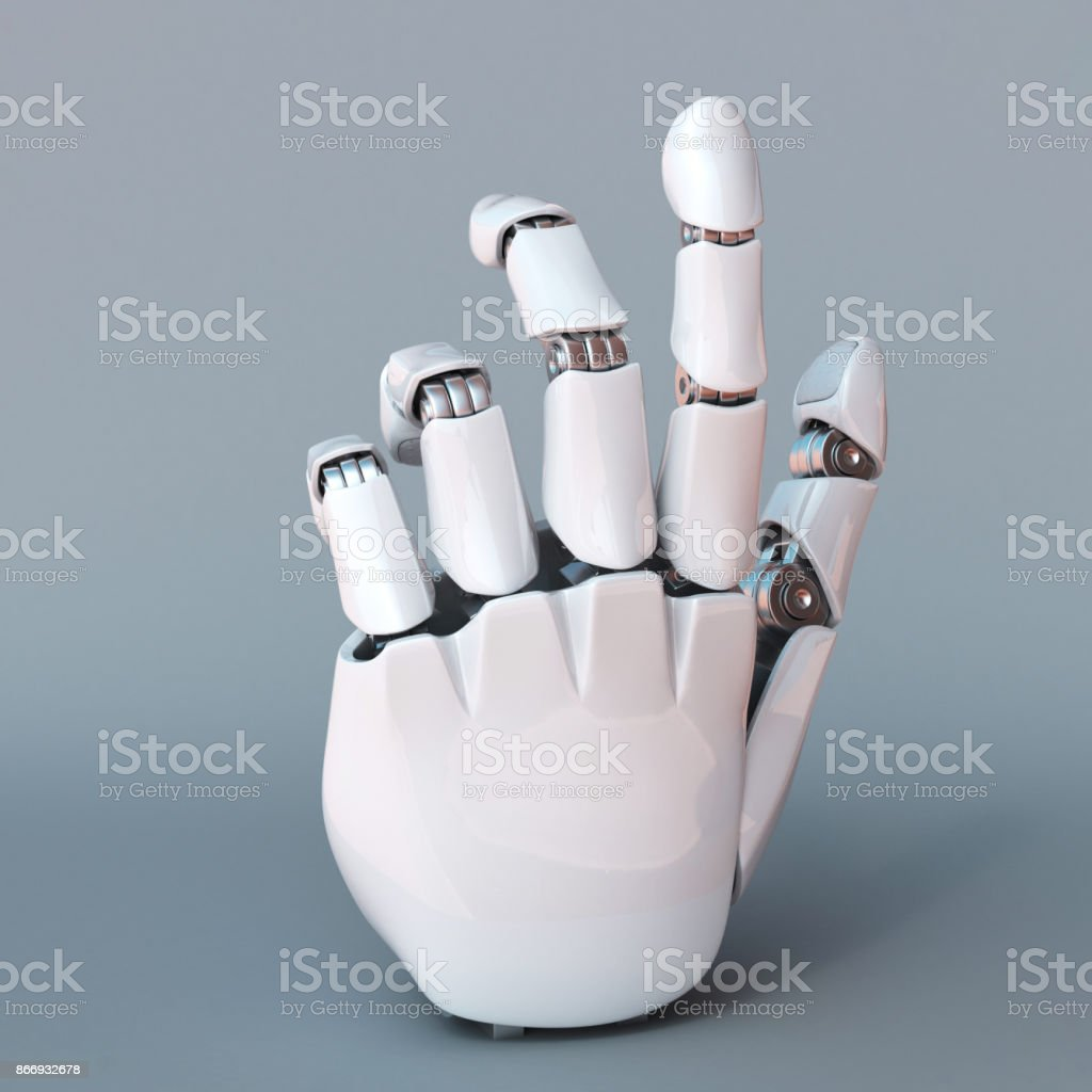 Bionic Hand Robot Arm 3d Rendering Stock Photo - Download Image Now
