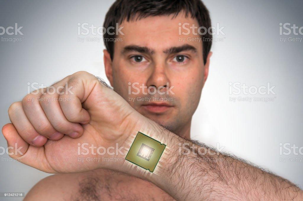 Fotografía de Bionic Microchip Dentro De Cuerpo Humano Masculino y ...