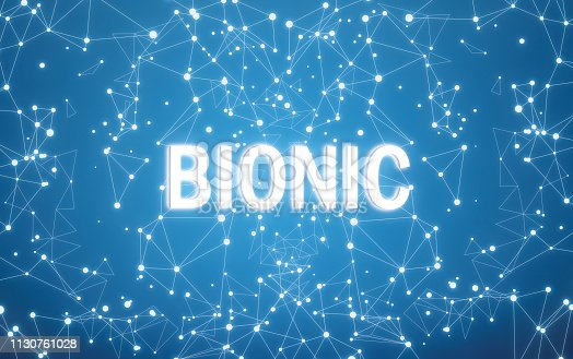 istock Bionic on digital interface and blue network background 1130761028