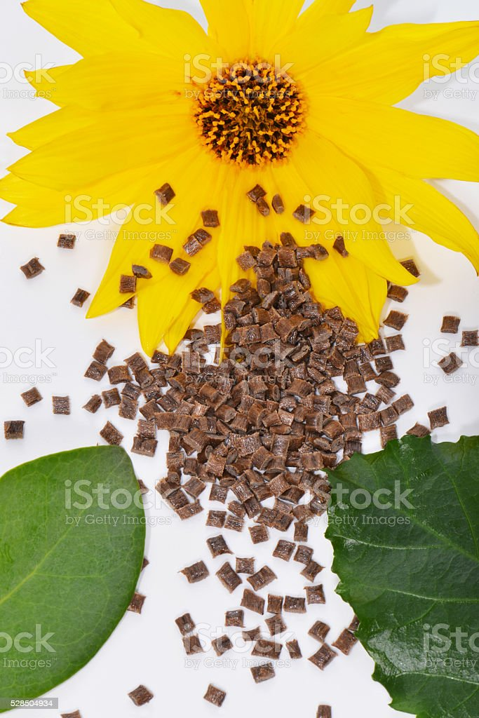 bio-polymer with blossom stock photo