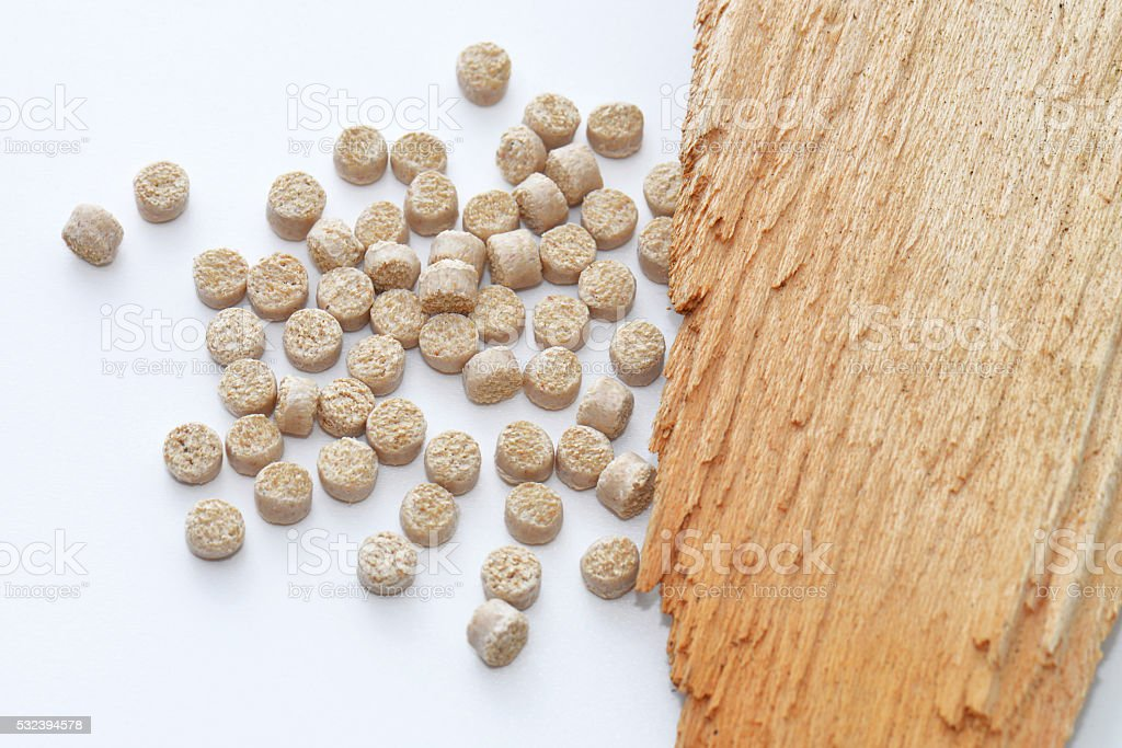 Biopolymer with wood stock photo