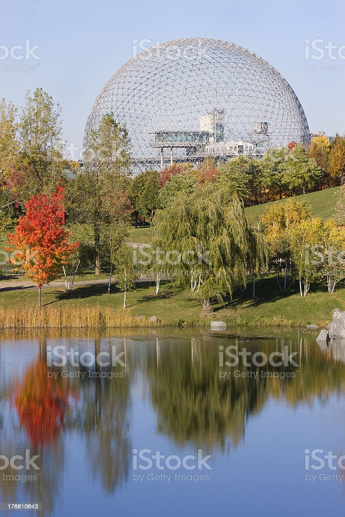 Biosphere of Montreal in autumn stock photo