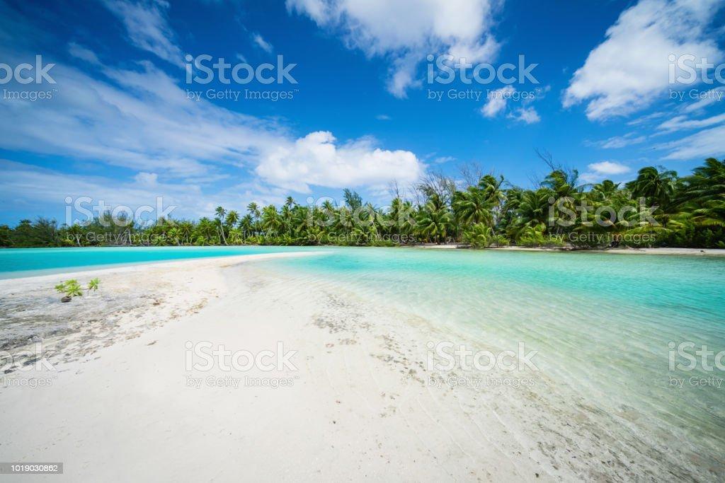 Biosphere Reserve Fakarava Atoll Sandbank Teahatea Beach French Polynesia stock photo