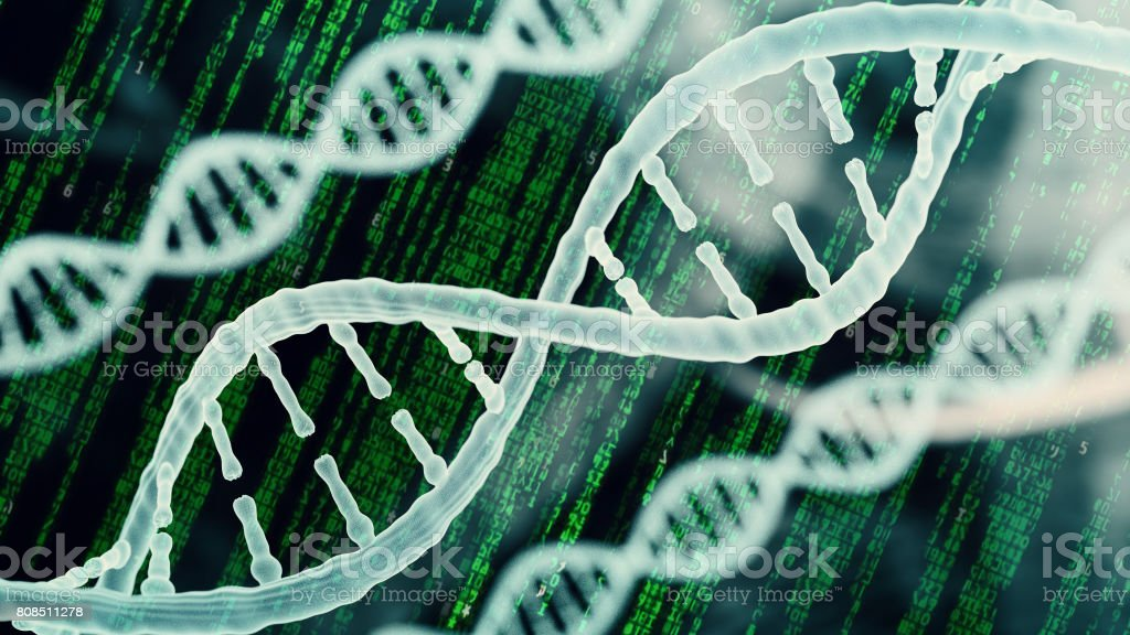Biotechnology bioinformatics concept of DNA and protein stock photo