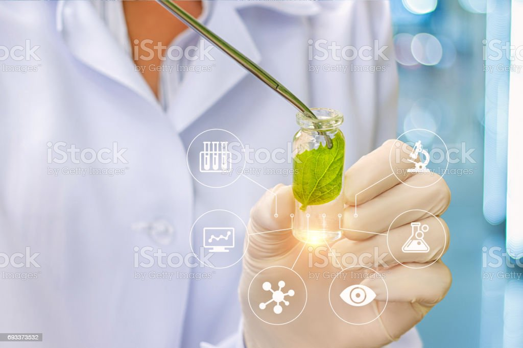Biotechnology researcher concept or biotech science. stock photo