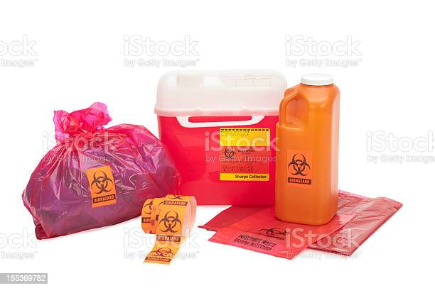 This image shows various forms of bio-waste including needle disposal container, liquid bodily waste, and bagged medical waste...all with bio-waste warnings. Background is 255 white with clipping path.