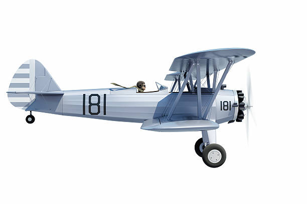 Biplane isolated stock photo