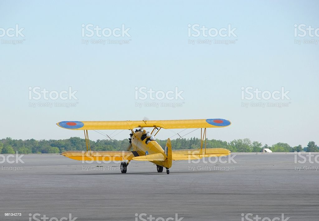 Biplane on taxiway royalty-free stock photo