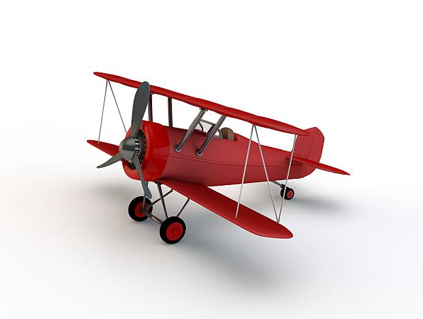 Biplane on white background stock photo