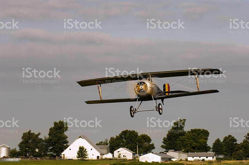 Biplane Over Kansas stock photo