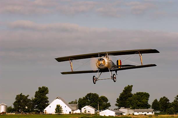 Biplane Over Kansas stock photo