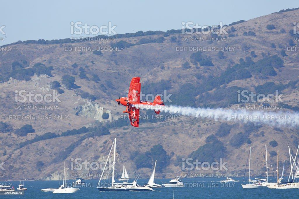 Bi=Plane Over San Francisco Bay. royalty-free stock photo