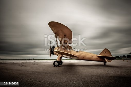 An old bi-plane presented with a long exposure.