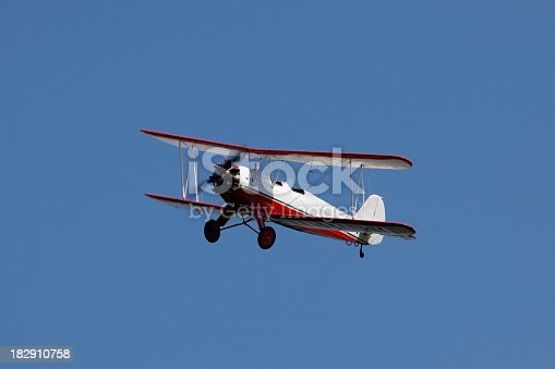 A double winged propeller aircraft