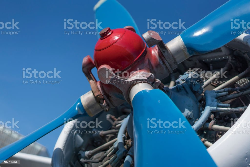 biplane propeller close-up view stock photo