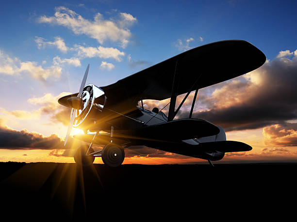 Biplane silhouette stock photo