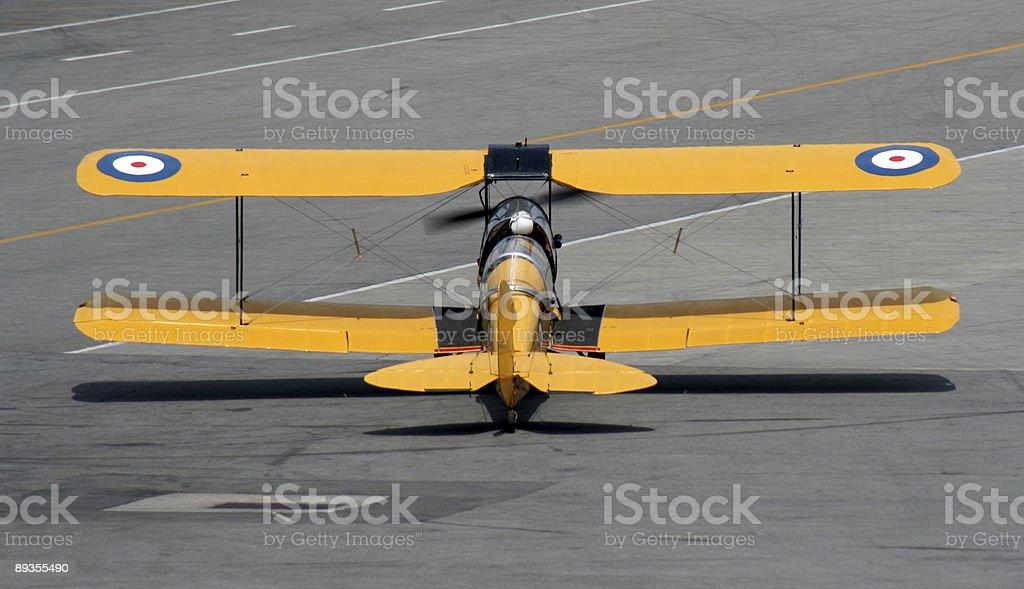 Biplane Takeoff royaltyfri bildbanksbilder