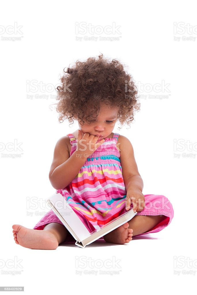 Biracial Baby Girl/ Toddler Reading A Book Isoltated On White stock photo