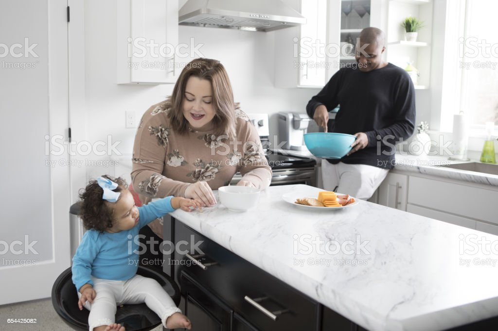Bi-Racial Family at Home foto de stock royalty-free