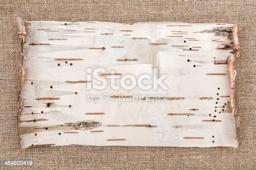 istock Birch bark on burlap background 454920419