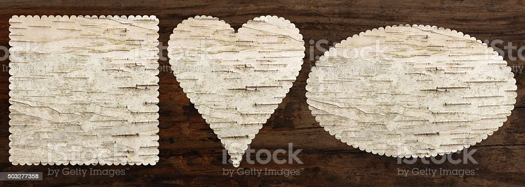 birch bark texture set, heart oval square shape, top view, stock photo