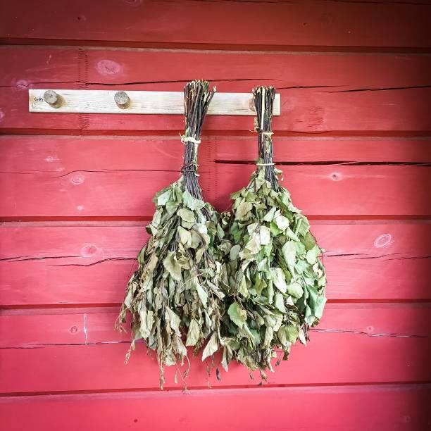 birken-zweig bündel - saunazubehör stock-fotos und bilder