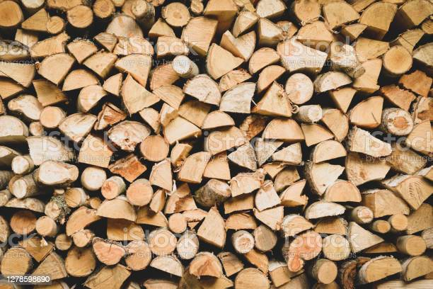 Photo of birch firewood background