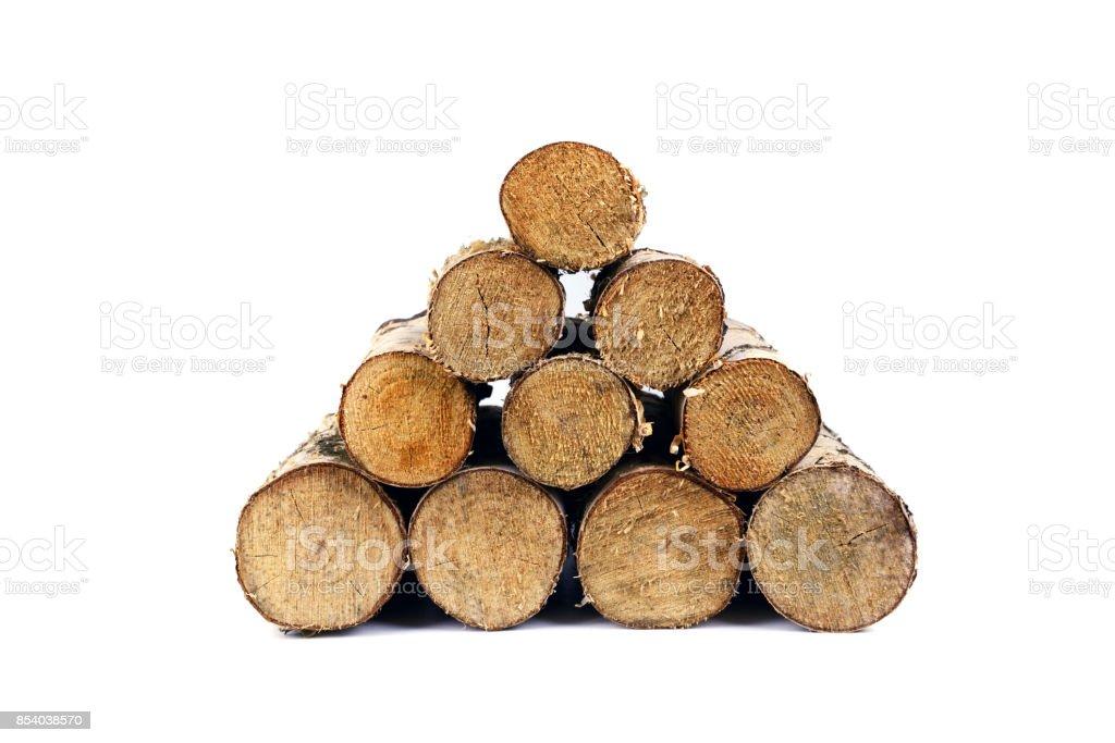 Cheminée feu de bois de bouleau isolée - Photo