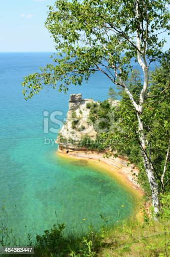 136169151istockphoto Birch Tree and Miners Castle at Pictured Rocks National Lakeshore 464363447