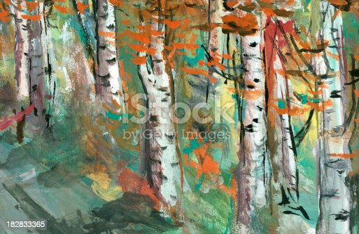 istock Birch trees - watercolor painting 182833365