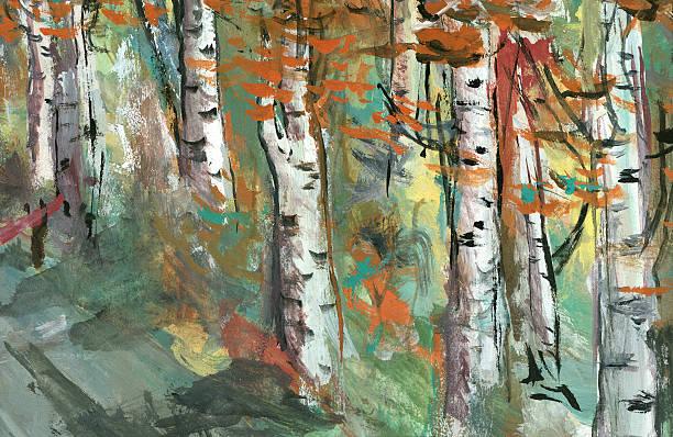 birken-aquarell - bilder landschaften stock-fotos und bilder