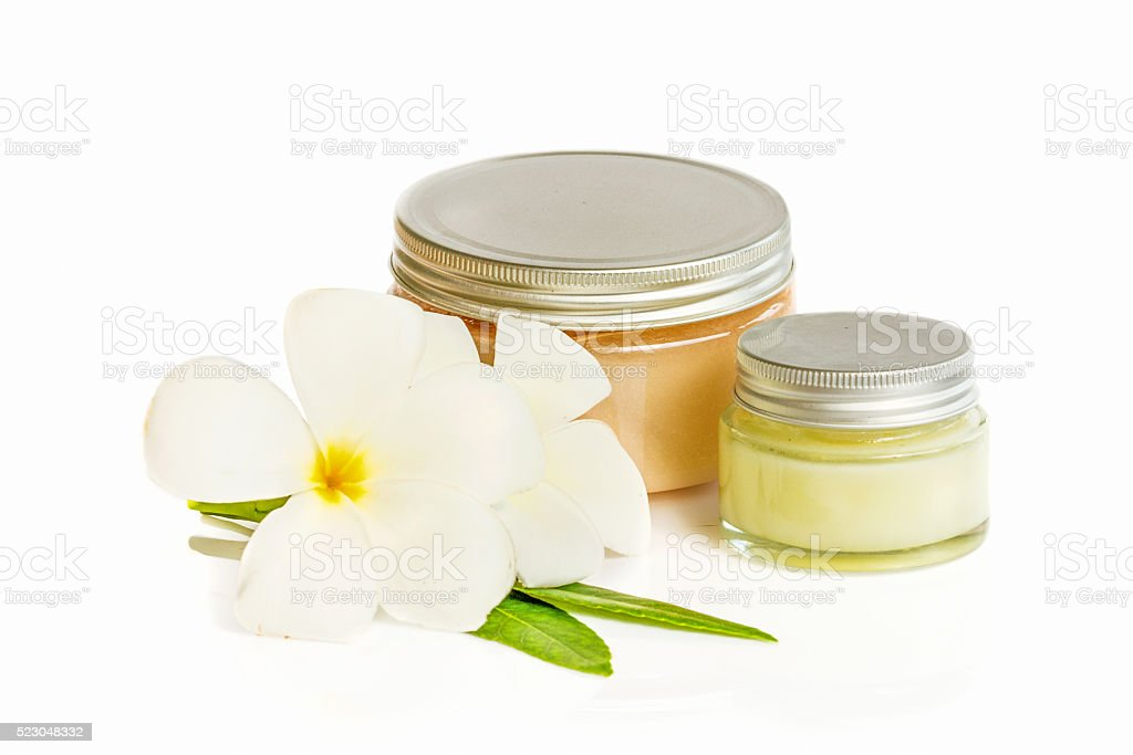 Birch-bark cosmetic box and cosmetic cream isolated on white stock photo