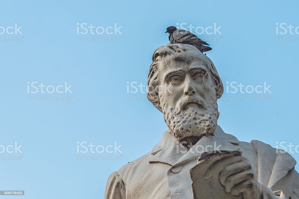 Bird above statue of Giuseppe La Farina