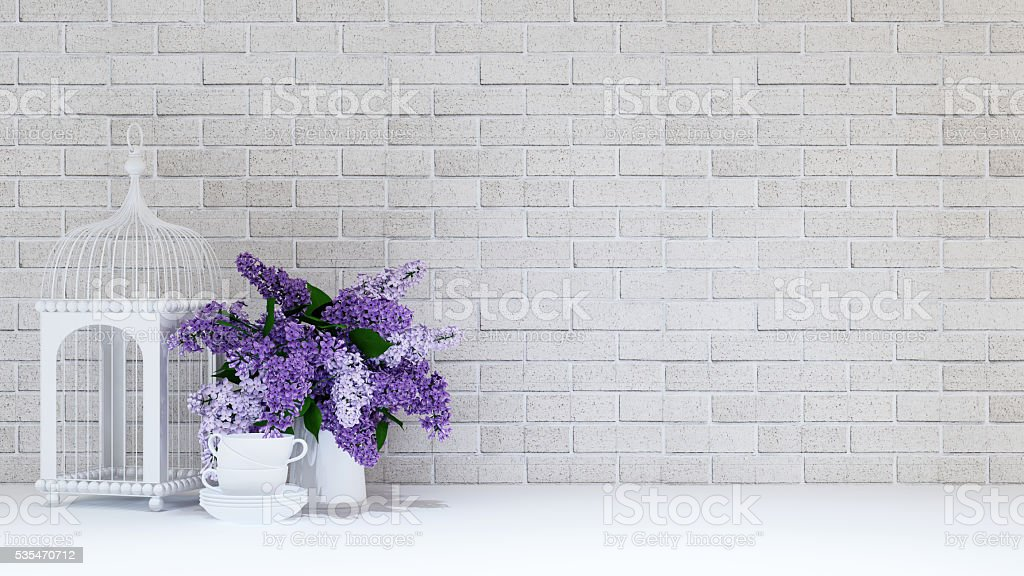Bird cage,vase purple flower,cup - 3D rendering