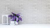 Bird cage,vase purple flower,cup - 3D rendering