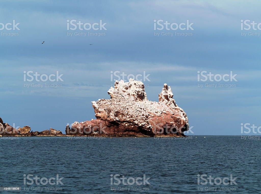 Bird colony island with guano, La Paz, Mexico stock photo