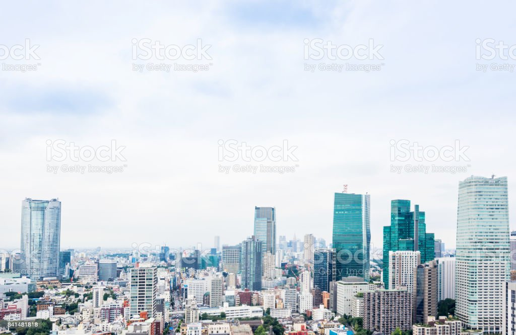 bird eye aerial view from tokyo tower under dramatic morning blue cloudy sky in Tokyo, Japan stock photo