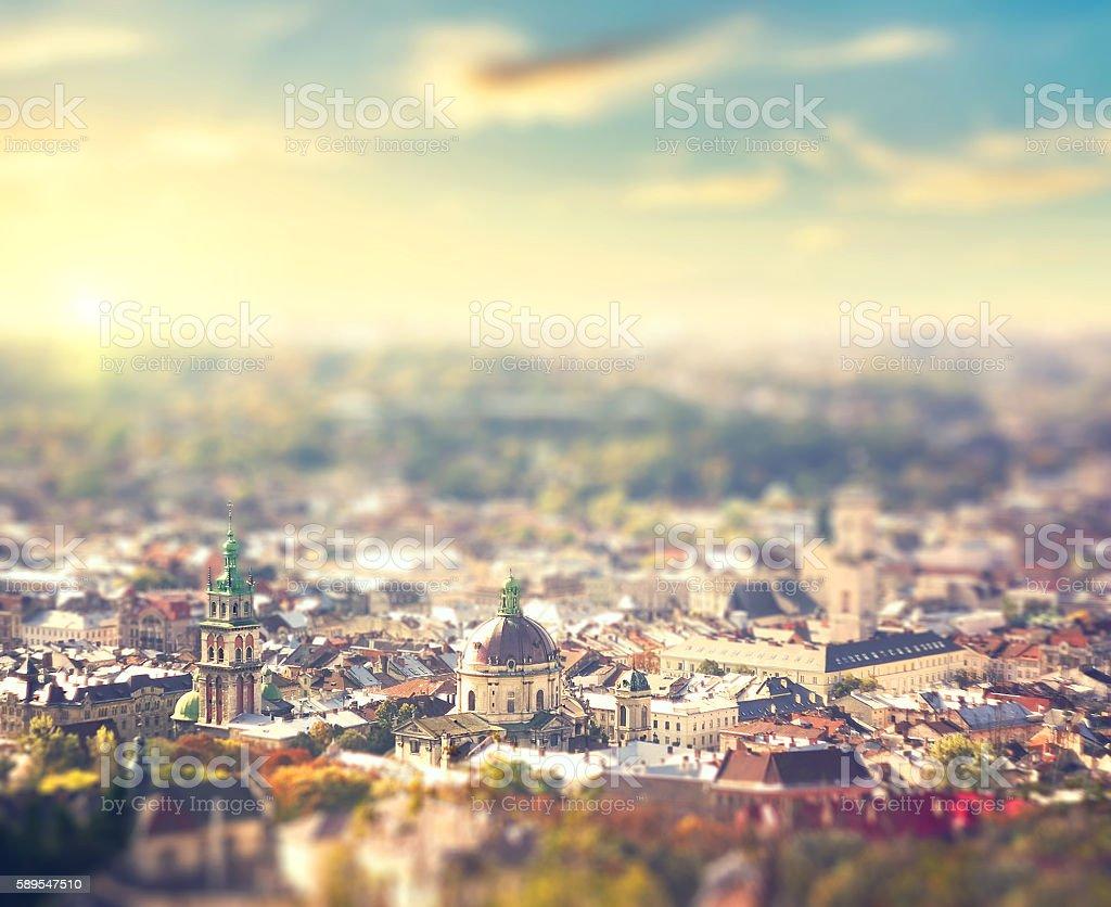bird eye aerial  view of Lviv Ukraine at sunset stock photo